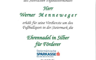 EHRENURKUNDE für unseren GF Werner Menneweger